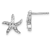 Sterling Silver Diamond Mystique Starfish Earrings