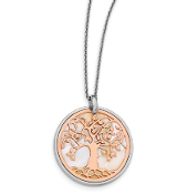 Sterling Silver & Rose Mother of Pearl Tree of Life Necklace