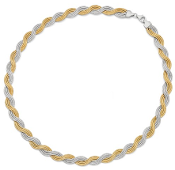Sterling Silver Gold Plated Diamond Cut Twisted Necklace