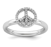 Sterling Silver Peace Sign Diamond Ring