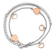 Sterling Silver Rose Gold Plated Adjustable Heart Wrap Bracelet
