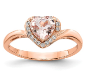 14K Rose Gold Morganite Heart and Diamond Ring
