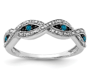 14K White Gold And Blue Evil Eye Diamond Ring