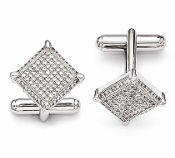 Sterling Silver and Cubic Zirconia Cufflinks