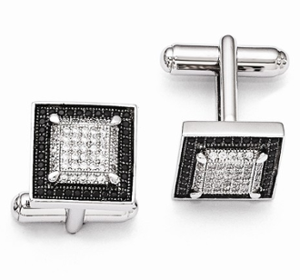 Sterling Silver Black & Clear Cubic Zirconia Cufflinks