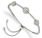 Sterling Silver Cubic Zirconia Flower Adjustable Bracelet
