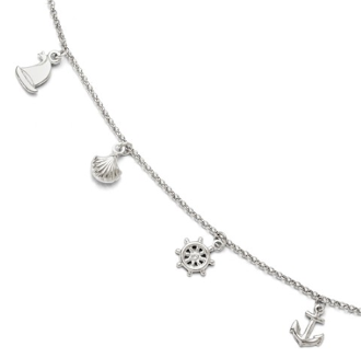 Sterling Silver Nautical Ocean Life Anklet