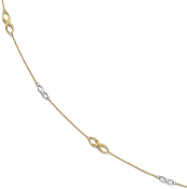 10K Gold Two Tone Infinity Link Anklet