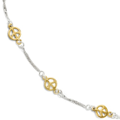 Sterling Silver & Gold Plated Peace Sign Link Anklet