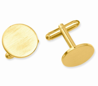 Gold Plated Round Satin Cufflinks