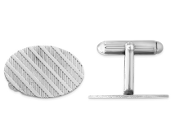 Sterling Silver Rhodium Plated Oval Cufflinks