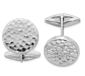 Sterling Silver Rhodium Plated Polished & Hammered Oval Cufflink