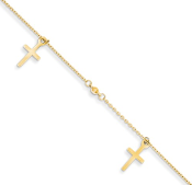 14K Yellow Gold Textured Cross Link Anklet
