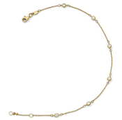 14K Yellow Gold Polished Cubic Zirconia Anklet