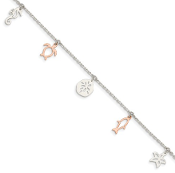 Sterling Silver and Rose Tone Seashore Dangles Nautical Anklet