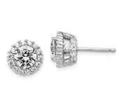 Sterling Silver Cubic Zirconia Round Post Earrings