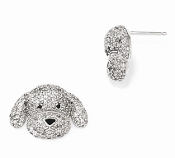 Sterling Silver Cubic Zirconia Puppy Dog Post Earrings