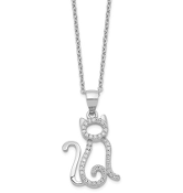 Sterling Silver Cubic Zirconia Cat Pendant Necklace