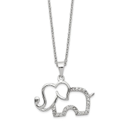 Sterling Silver Cubic Zirconia Elephant Pendant Necklace