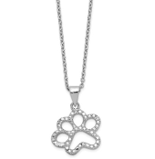 Sterling Silver Cubic Zirconia Paw Print Pendant Necklace