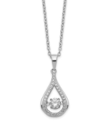 Sterling Silver Brilliant Cut Cubic Zirconia Teardrop Necklace
