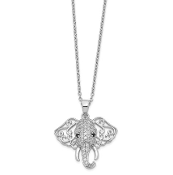 Sterling Silver Black & White Cubic Zirconia Elephant Necklace