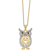 Sterling Silver Gold Plated Cubic Zirconia Owl Pendant Necklace