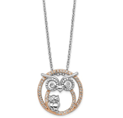 Sterling Silver Rose Gold Plated Cubic Zirconia Owl Necklace