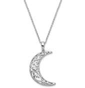 Sterling Silver Antiqued Love You To The Moon & Back CZ Necklace