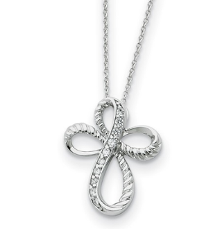 Sterling Silver Endless Hope Infinity Cross CZ Necklace