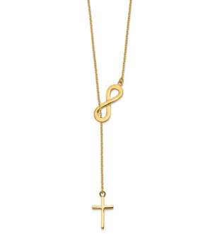 14K Yellow Gold Polished Infinity & Cross Lariat Necklace