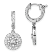 Sterling Silver Cubic Zirconia Hinged Hoop Dangle Earrings