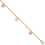 14K Yellow Gold Enameled Pink & White Butterfly Anklet