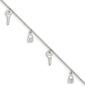 Sterling Silver Polished Lock & Key Anklet