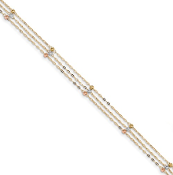 14K Tri-Color 3 Strand Diamond Cut Beaded Anklet