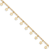14k Gold Polished And Textured Star Anklet