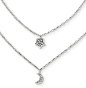 Sterling Silver Cubic Zirconia Moon Star Double Strand Necklace