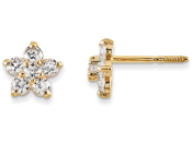 14K Yellow Gold Marquise Cubic Zirconia Star Earrings