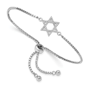 Sterling Silver Cubic Zirconia Star of David Adjustable Bracelet