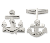 Sterling Silver Anchor With Dangle Rope Nautical Cufflinks