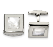 Stainless Steel Polish Mother of Pearl Square Cufflinks