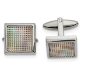 Stainless Steel Polished Rainbow Textured Square Cufflinks