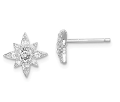 Sterling Silver Cubic Zirconia Star Post Earrings