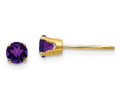 14K Yellow Gold 4mm February Purple Amethyst Stud Earrings