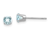 14K White Gold 4mm March Blue Aquamarine Stud Earrings
