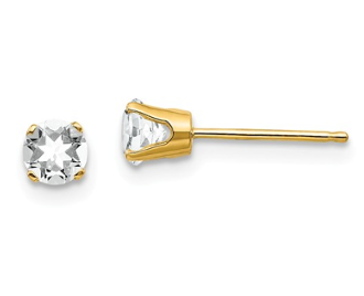 14K Yellow Gold 4mm April White Topaz Stud Earrings