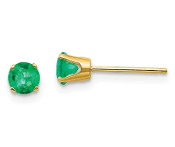 14K Yellow Gold 4mm May Emerald Stud Earrings
