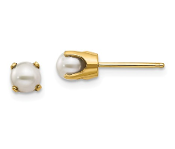 14K Yellow Gold 4mm June Cultured Pearl Stud Earrings