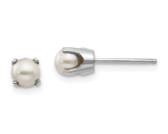 14K White Gold 4mm June Cultured Pearl Stud Earrings