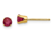 14K Yellow Gold 4mm July Red Ruby Stud Earrings